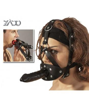 Læder hovedseletøj med dildo