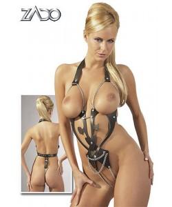 Læder-Body med kæder