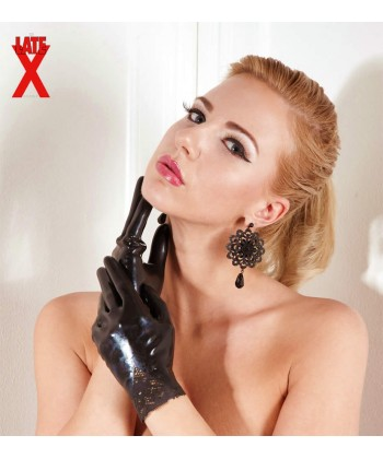 Latex Handsker i Sort med Blondekant