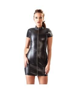 Minikjole i ægte læder med Lynlås