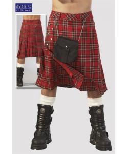 Skotsk Kilt rød og hvid