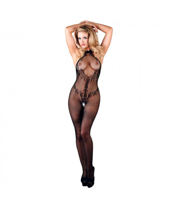 Blonde Net Catsuit i Sort