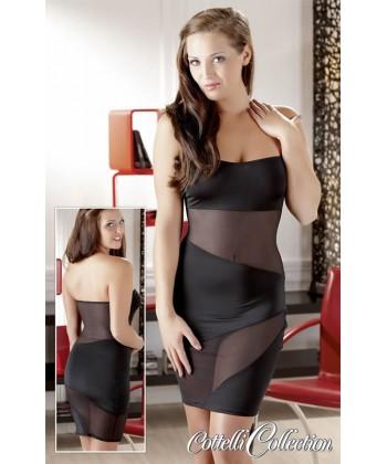 Stram Sort kjole med gennemsigtige striber